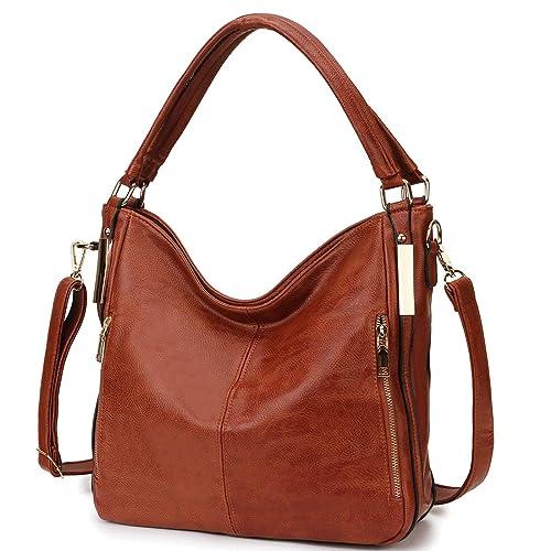 Amazon.com  RAVUO Hobo Bag for Women Faux Leather Shoulder Handbags Totes  Top Handle Crossbody Bag Satchel Handbag Ladies Purses Brown  Shoes 816e65e3553a3