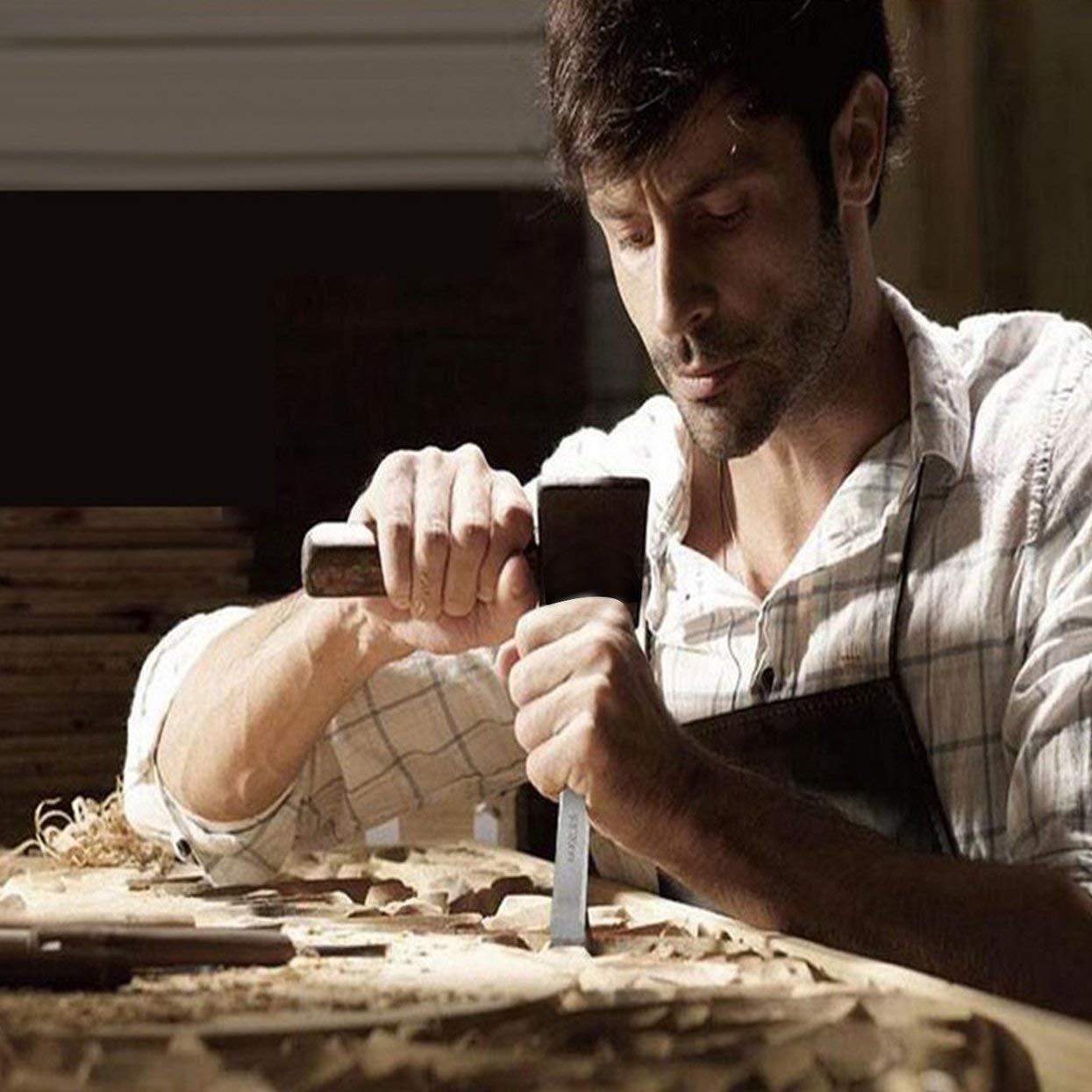 Tellaboull Set di scalpelli per intaglio in legno di alta qualit/à CRV Set 6mm-26mm per strumenti di intaglio per carpentiere manuale di alta acciaio al manganese