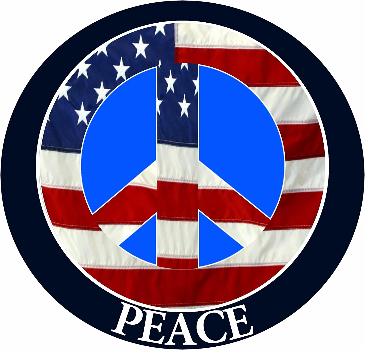E&S Pets Peace Car Magnet with American Flag Peace Sign Design in The Center Covered in UV Gloss for Weather and Fading Protection Circle Shaped Magnet Measures 5.25 Inches Diameter
