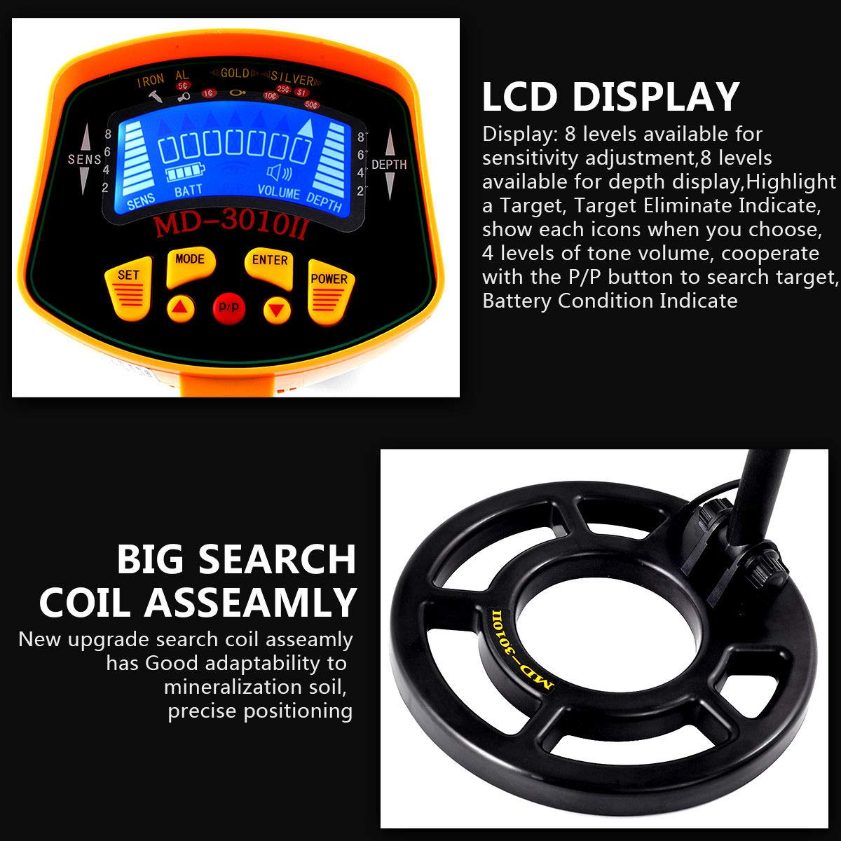 New Md 3010ii Metal Detector Gold Digger Deep Sensitive The Picture Shows Circuit Detecting Coil Light Hunter Lcd Display Garden Outdoor