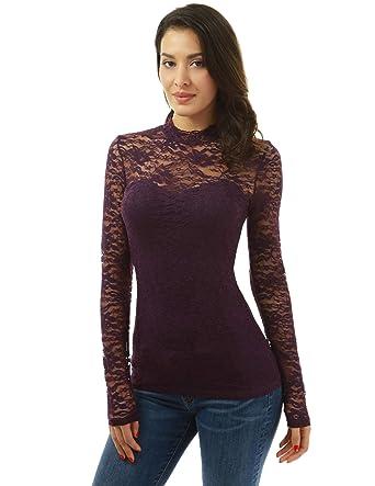 77418e521b0 PattyBoutik Women Floral Lace Mock Neck Inset Sweetheart Blouse (Dark  Purple X-Small)
