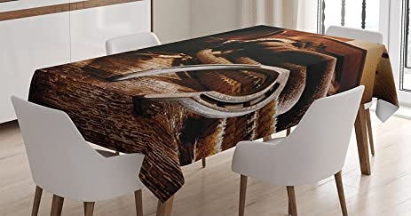 Western Decor Tablecloth By Ambesonne Boho Folklore Materials Classic Style Roper Boots Equestrian Life Icons
