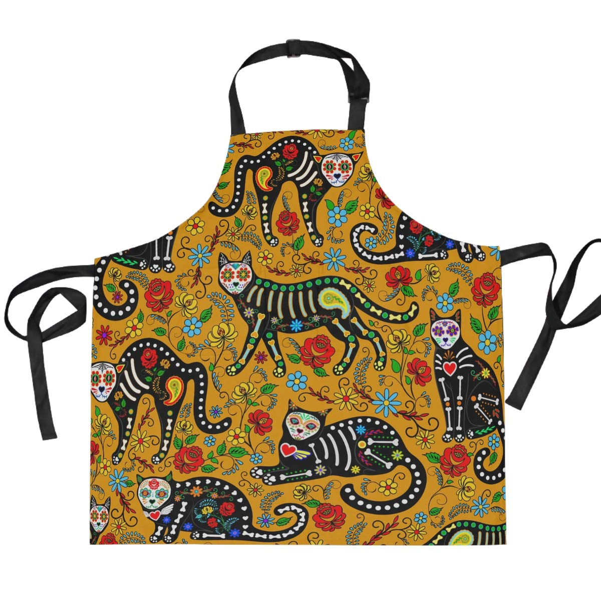 Unisex Apron Halloween Skull Black Cats Dia de Muertos Adjustable Apron Pockets Men Women Kitchen Personal Decor Cooking Baking Kitchen Gardening Waist Apron Adult Apron,Twill,Multicolor