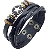 SUNNOW Punk Fiver-pointed Star Circle Rings Leather Bracelet Wristband Men/ Women