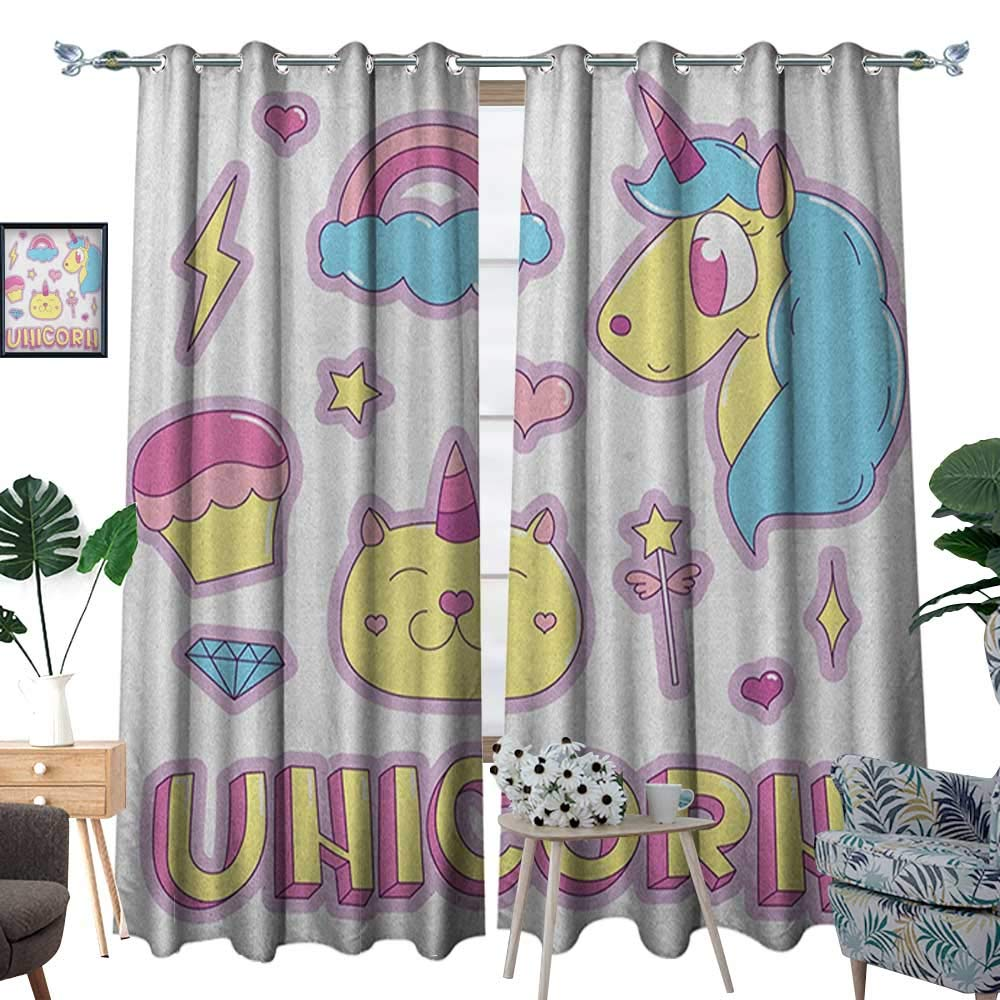 Warm Family Unicorn Cat Waterproof Window Curtain Collection Fantastic Icons Magic Horse Kitten Cupcake Rainbow Blackout Draperies for Bedroom W120 x L84 Sky Blue Pink Pale Yellow by Warm Family