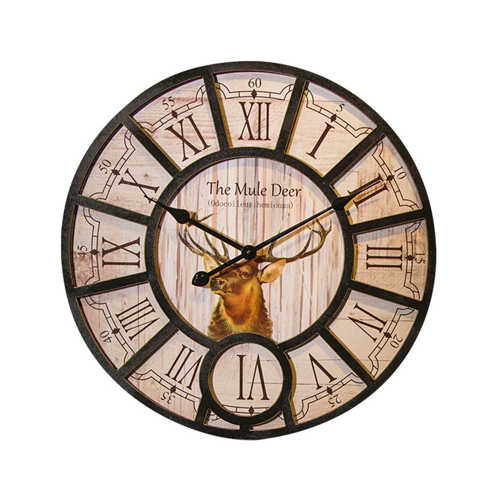 decalmile Vintage Wooden Wall Clock with Animal Deer Wall Art Decor for Office Home Cafe (Diameter 16 Inches)