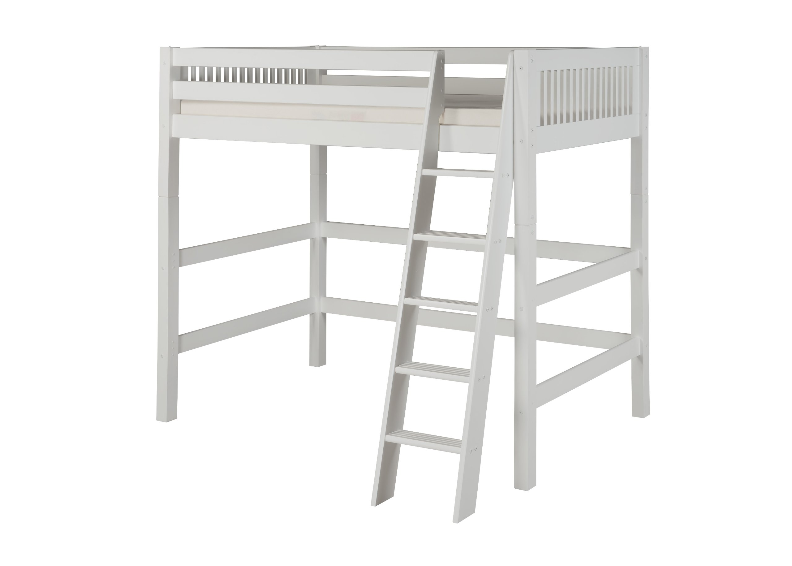Camaflexi Mission Style Solid Wood High Loft Bed, Twin, Side Angled Ladder, White
