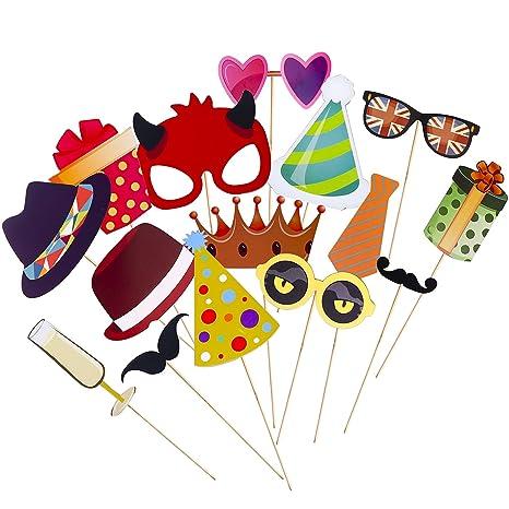 Amazon.com: 33 piezas emoji Photo Booth props Kit de ...