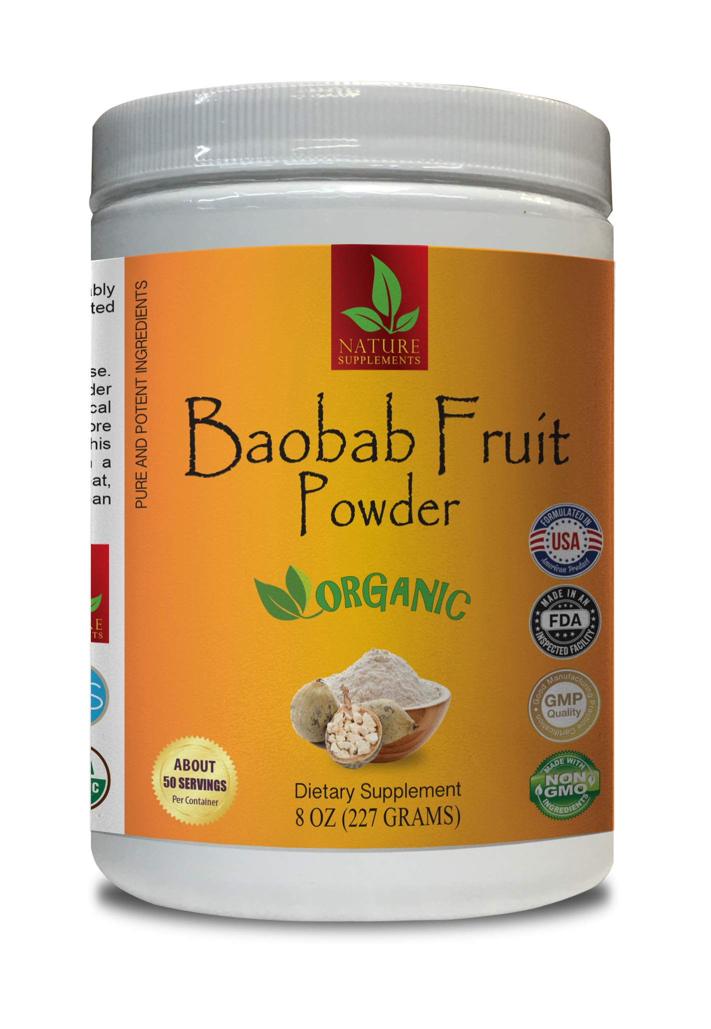 antioxidant Immune Booster - Baobab Fruit Organic Powder - Pure and Potent Ingredients - Baobab Powder - 1 Can 8 OZ (50 Servings)