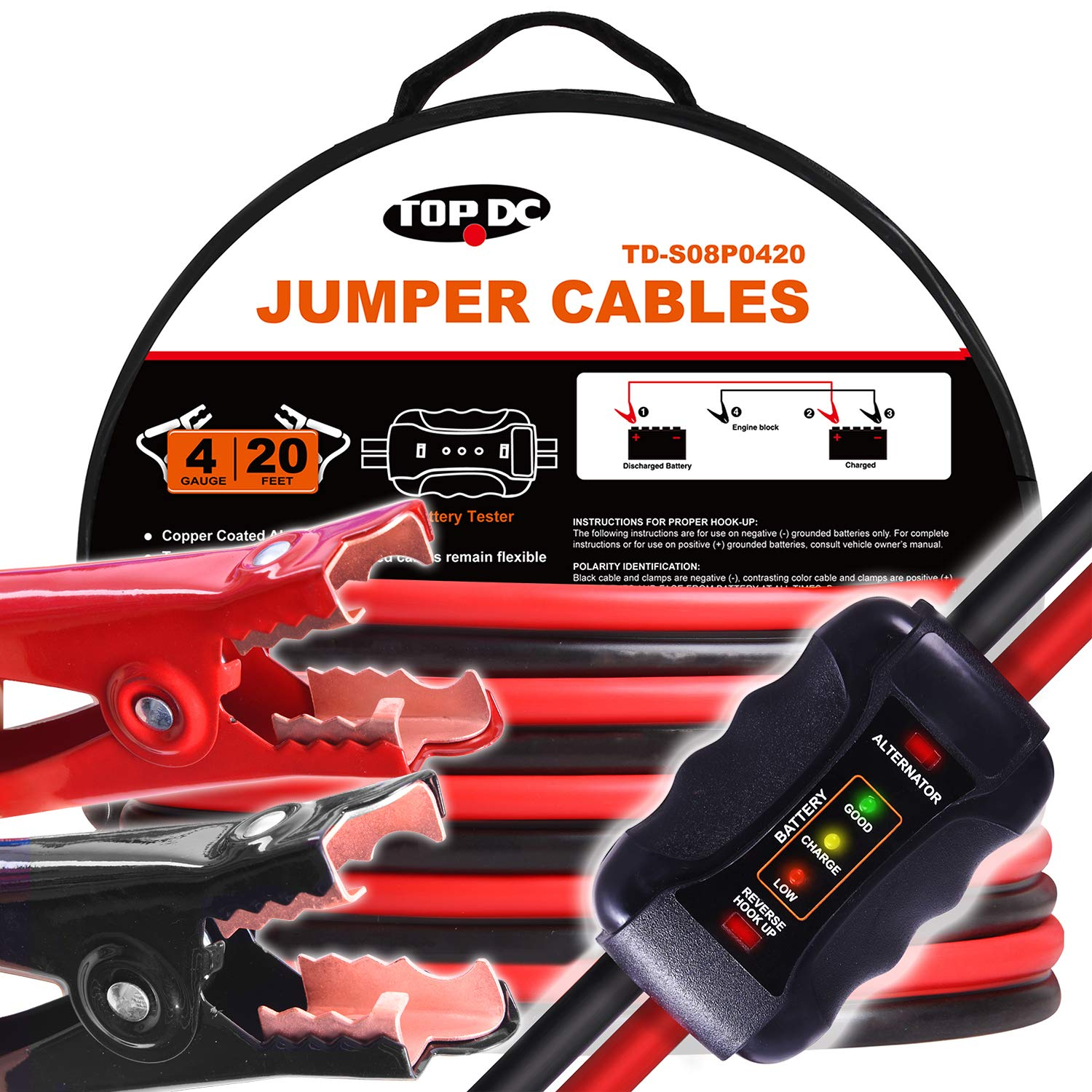 TOPDC Smart Jumper Cables 4 Gauge 20 Feet Heavy Duty Booster Cables with Reverse Hook Up and Alternator Indicator, Battery Condition Tester (4AWG x 20Ft) by TOPDC