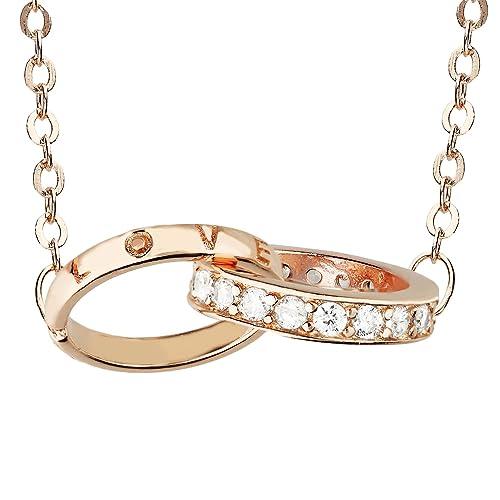 f31ad67bb749 Mya tipo Mujer Collar Cadena plata 925 Rose Anillo de oro chapado en oro  Llavero con grabado Love Swarovski Strass cristal 45 cm Rose Gold myasiket  de 110  ...