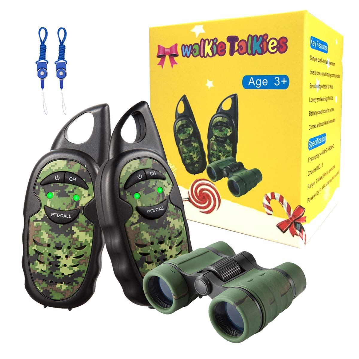 Walkie Talkies for Kids with Binoculars, 2 Mile FRS Technology 2 way radio Toy, Easy to Use for Little Hands Walkie Talkies for Boys, Walkie Talkie Set with Kids Binoculars,Best Toys Gifts for Kids by inYYTer (Image #1)