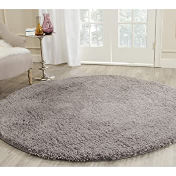 Safavieh Classic Shag Collection SG240G Handmade Grey Round Area Rug (4u0027  Diameter)