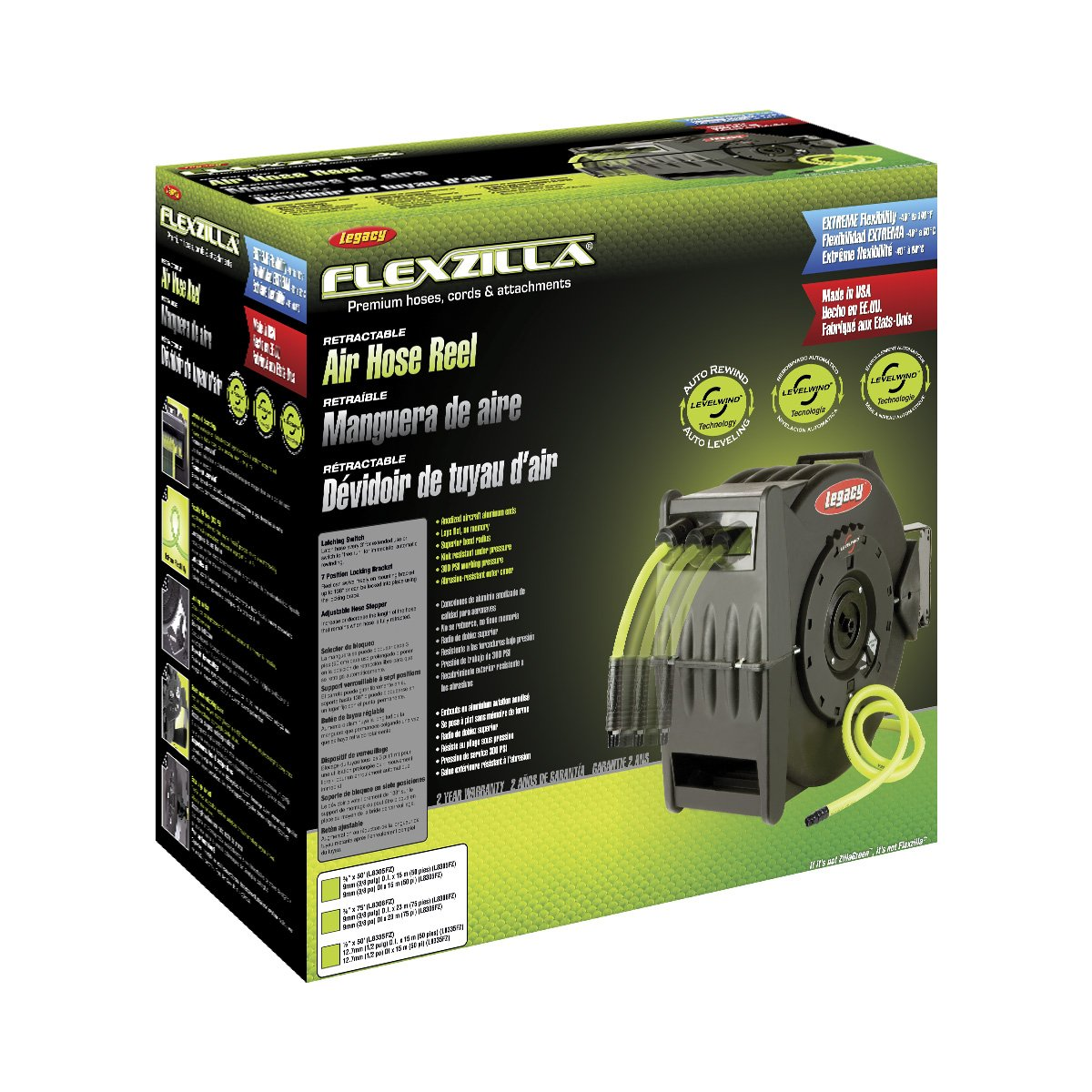 Flexzilla Levelwind Retractable Air Hose Reel, 3/8 in. x 50 ft., Heavy Duty, Lightweight, Hybrid, ZillaGreen - L8305FZ by Legacy Manufacturing (Image #1)