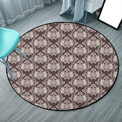 Damask Indoor Modern Area Round Rugs 6 6 Round Brown And Beige Victorian Floral Pattern With Blooming Foliage Leaves On Dark Toned Backdrop For Children Bedroom Nursery Rugs Round 200cmx200cm Amazon Co Uk Kitchen