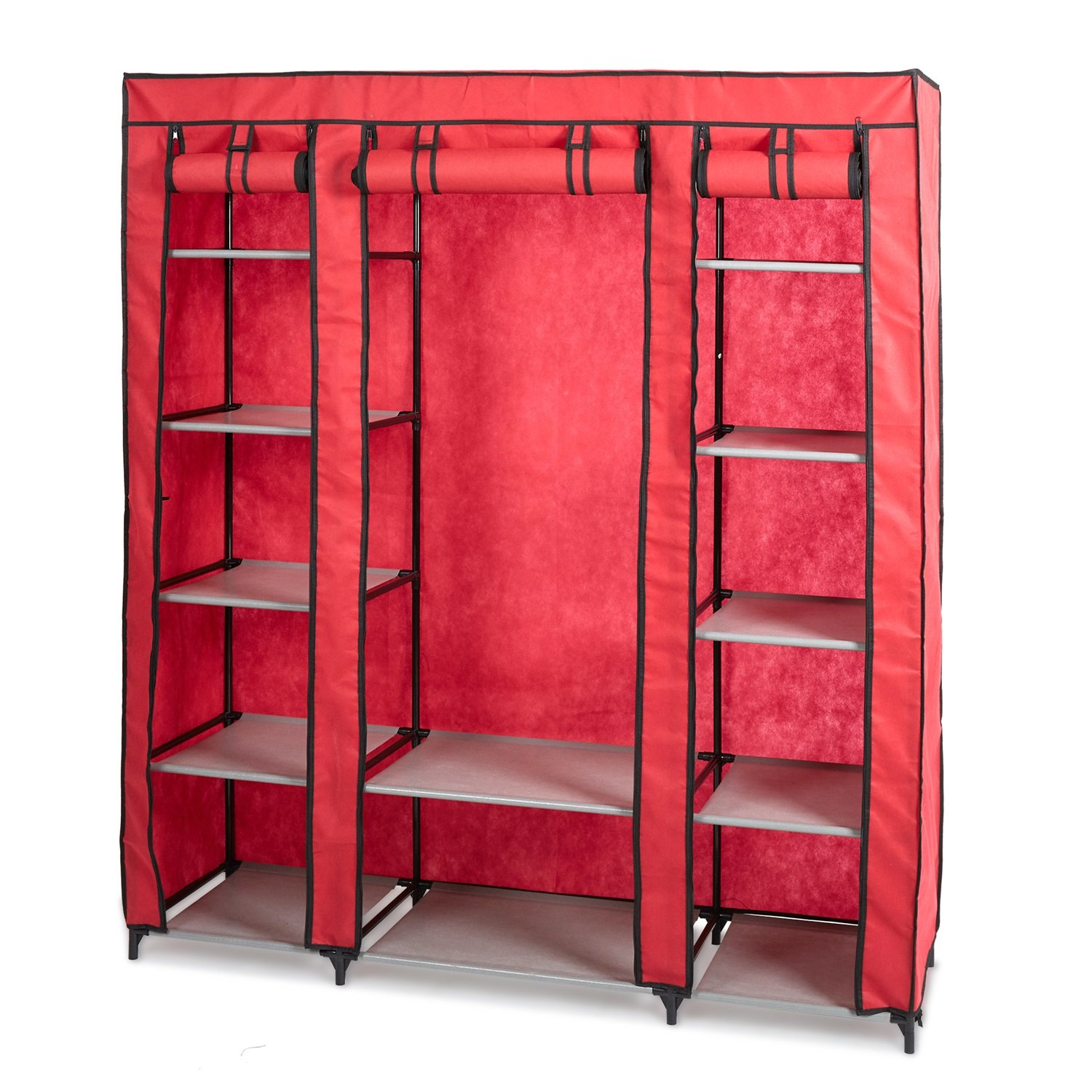 KARMAS PRODUCT 5-Tier Portable Wardrobe Clothes Closet with Non-woven Fabric and Steel Tube,Free Standing and Space Saving Closet Storage, Quick and Easy Assembly (red)