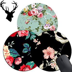 3 Pack Gaming Mouse Pad, Watercolor Floral Flower Pattern Pattern Custom Design Mouse mat, Round Mouse Pads for to Laptop and Desktop Computer,Cute Mousepad with 2x2 inch Deer Head Stickers