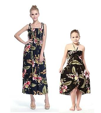 f6009b0fff492 Mère et Fille Correspondant Hawaii Luau Maxi Robe élastique Fille Papillon  en Noir Rafelsia  Amazon.fr  Vêtements et accessoires