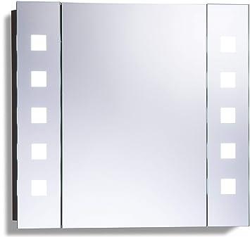 Armoire de toilette pour salle de bain avec miroir lumineux, antibuée,  prise pour rasoir, détecteur de mouvement et éclairage LED 60cm(H) x  65cm(l) x ...