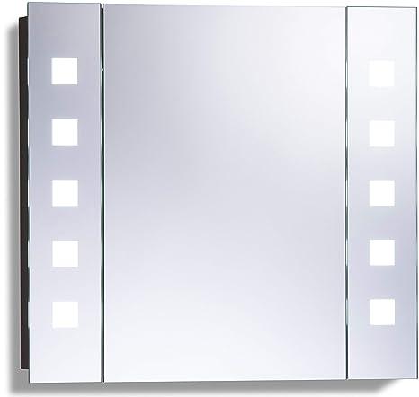 LED beleuchteter Badezimmer Spiegelschrank mit Licht (Tageslichtweiß bei  6500K) TÜV geprüft mit Antibeschlag-Pad ohne sichtbare Kabel, Steckdose, ...