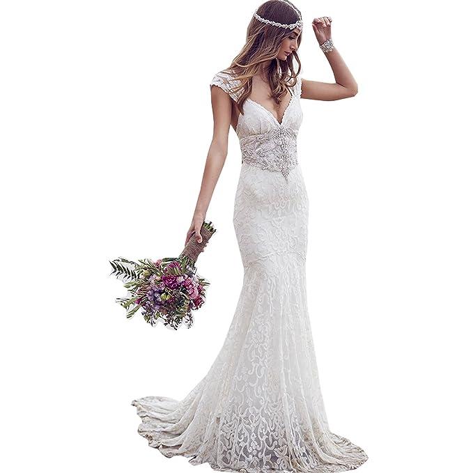 dressvip - Vestido de novia - Manga corta - Mujer blanco 40