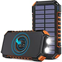 Hiluckey Cargador Solar 26800mAh Batería Externa Inalámbrica Power Bank USB C Carga Rápida Cargador Portátil con 4…