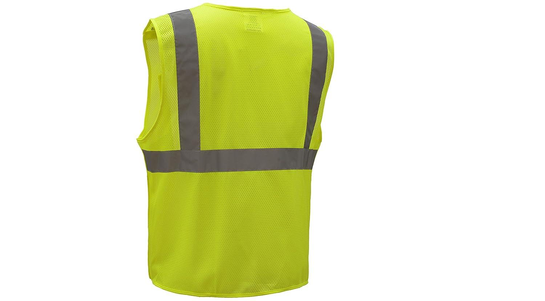Large, Green CJ Safety CJHVSV2002 ANSI Class 2 High Visibility 5-Points Breakaway Safety Vest Polyester Mesh