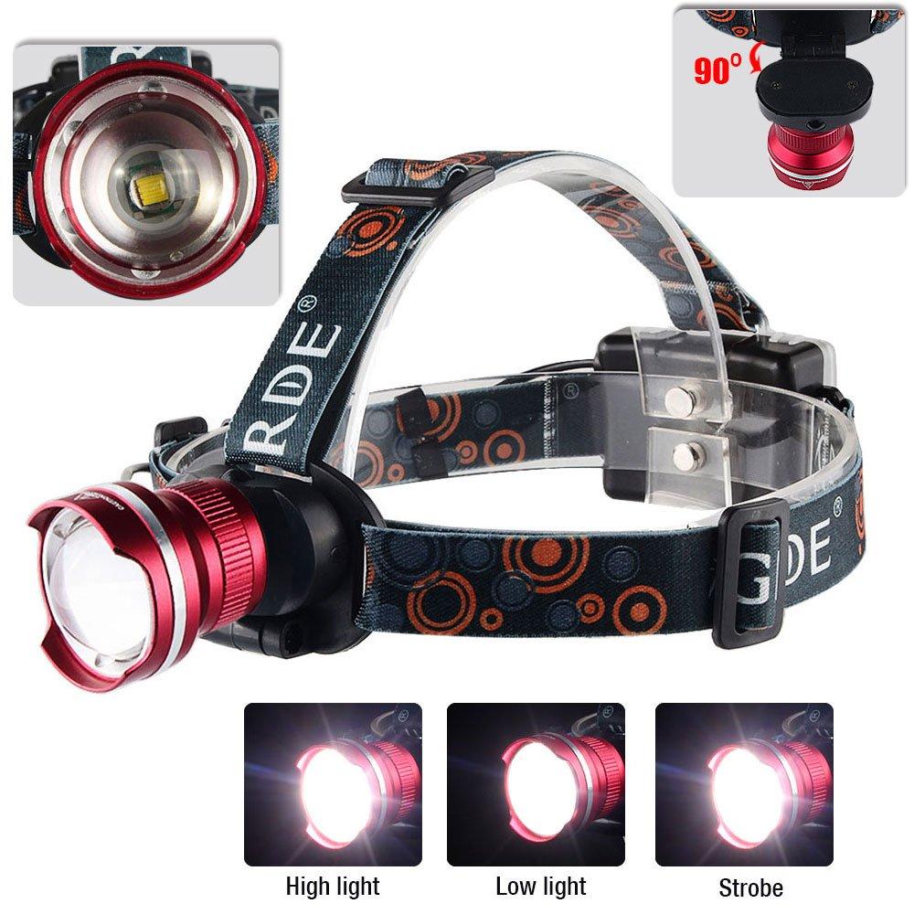 Rouge GRDE/® VTT Lampe Frontale LED 1800 Lumens Zoomable Headlight Leger et puissante pour Montagne Cyclisme,Course a Pied,Promenade avec Chien,Chasse de Nuit