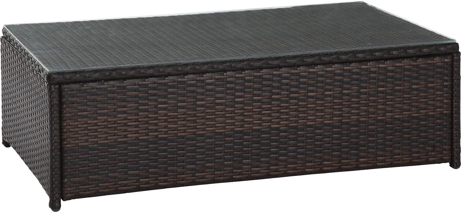 Crosley Furniture Palm Harbor Outdoor Wicker Table with Glass Top, Brown