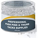215 Clear Push Pins for Bulletin Board Thumb Tacks for Wall Corkboard Map Calendar Photo -Home Office Craft Projects Heavy Du