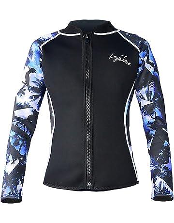 ... Surfing Snorkeling Swimming Paddling · Layatone Wetsuit Top Women Men  Premium 3mm Neoprene Diving Suit Jacket for Women - Wetsuit Jacket 89a031001