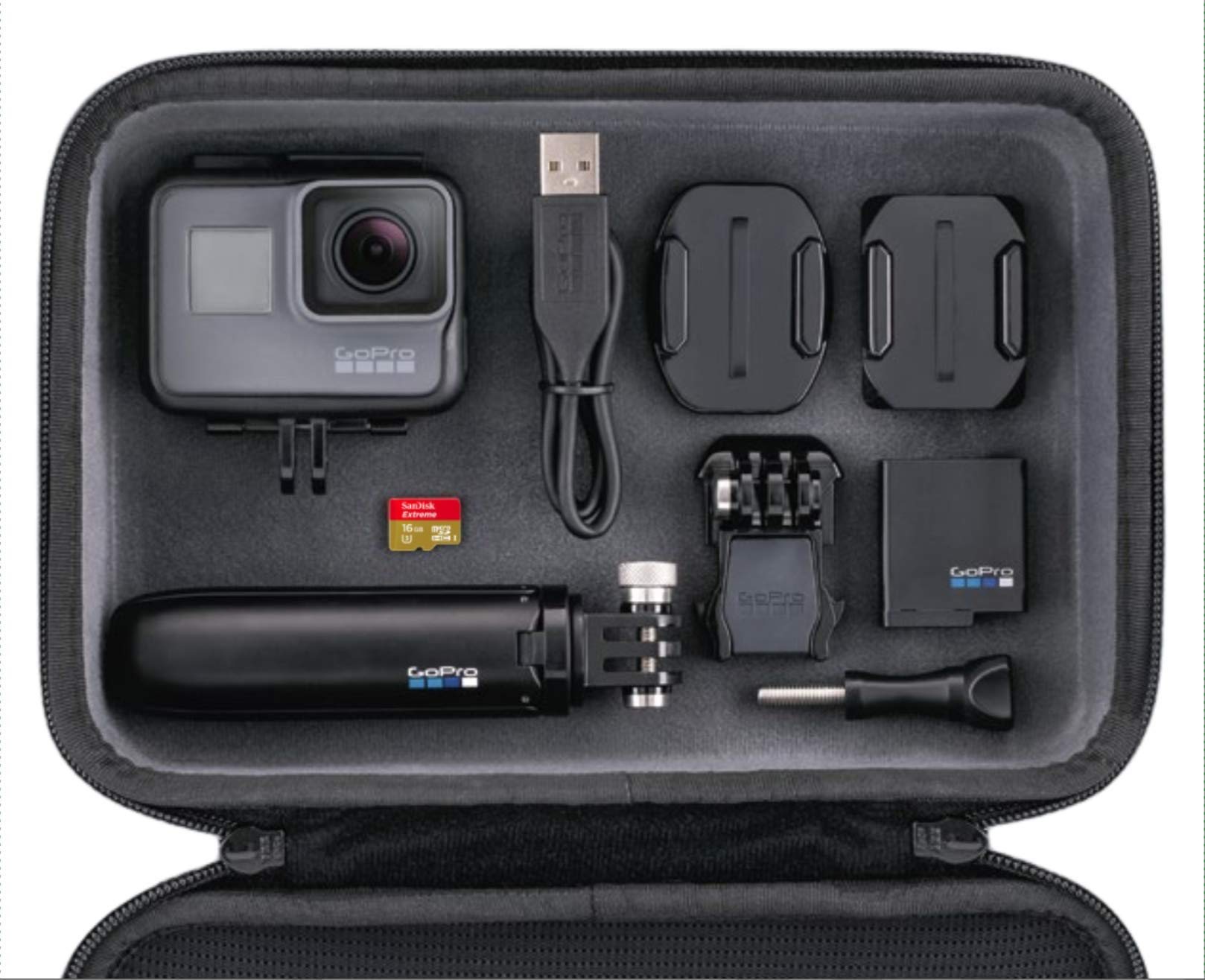 GoPro HERO5 Black - fotocamera digitale impermeabile fino a 10m, 4K, 30 fps + Shorty + Casey + MicroSD da 16 GB -  Nero product image