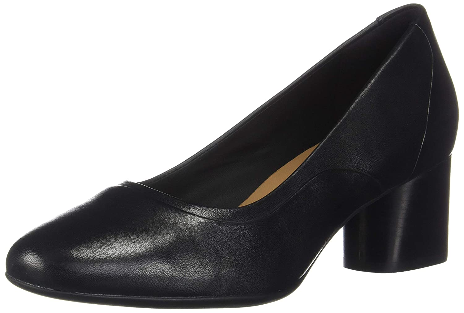 Black Leather Clarks Womens Un Cosmo Step Block Heel