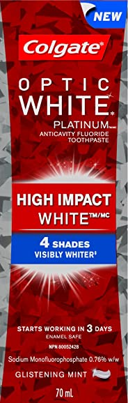 Colgate Optic White High Impact White Toothpaste, Glistening Mint, 70 mL