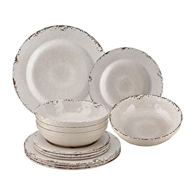 Melamine Crackle Dinnerware Set of 12, Cream