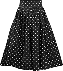 3eaf922c0a3d Double Trouble Apparel Polka Dot Swing Skirt with Stretch Waist in Black