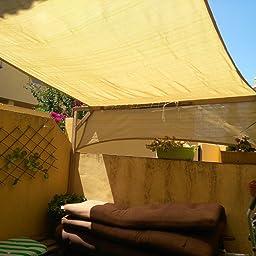 Sekey Toldo Vela de Sombra Cuadrado HDPE Protección Rayos UV Resistente Permeable Transpirable para Patio, Exteriores, Jardín, con Cuerda, 3.6×3.6m Antracita: Amazon.es: Jardín