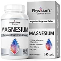 Magnesium Glycinate - Patented Bisglycinate Non Buffered Chelated Magnesium Supplement for Sleep, Muscle Cramps, Relaxation, Bone Density, Gluten Free, Non-GMO, 180 Capsules