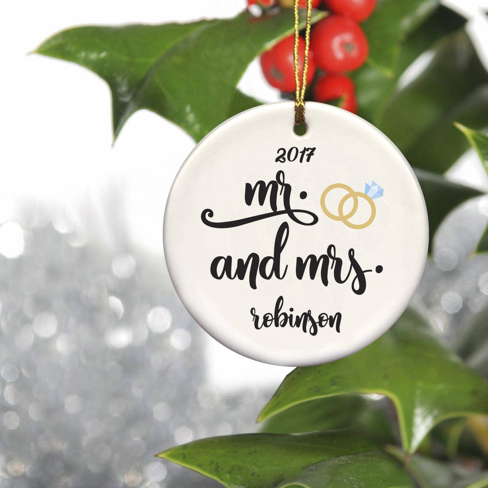 personalized couples ceramic christmas ornaments mr mrs - Ceramic Christmas Ornaments