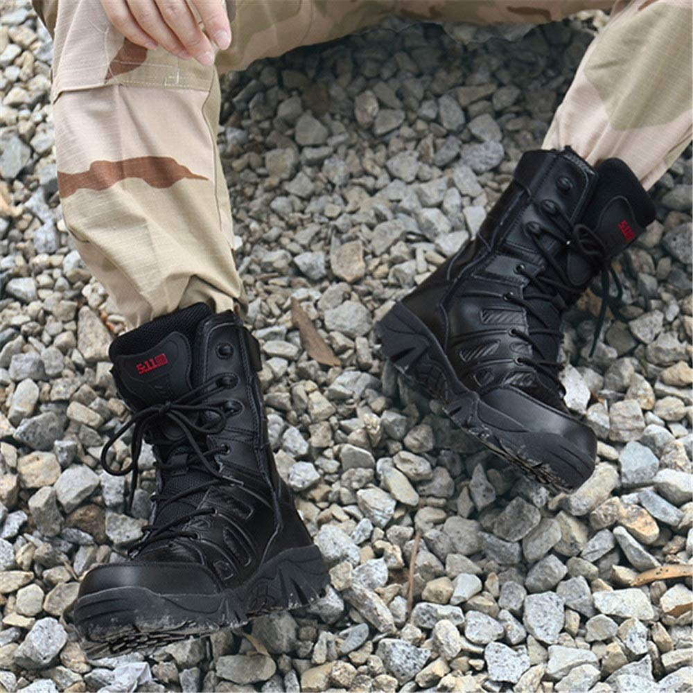 WWJDXZ Militärstiefel Mode Leder Komfortable Rutschfeste verschleißfeste Dämpfung Kampf Kampf Kampf Outdoor Bergsteigen Stiefel Herrenschuhe (Farbe   SCHWARZ, größe   42) 3a9095