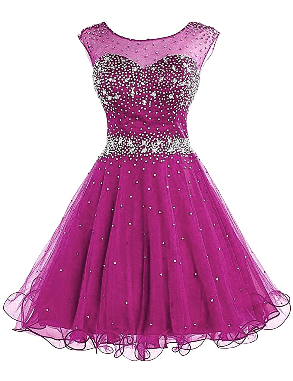 Dark pink H.S.D Homecoming Dresses Prom Party Dresses Short Cocktail Dress Beads Graduation Gown