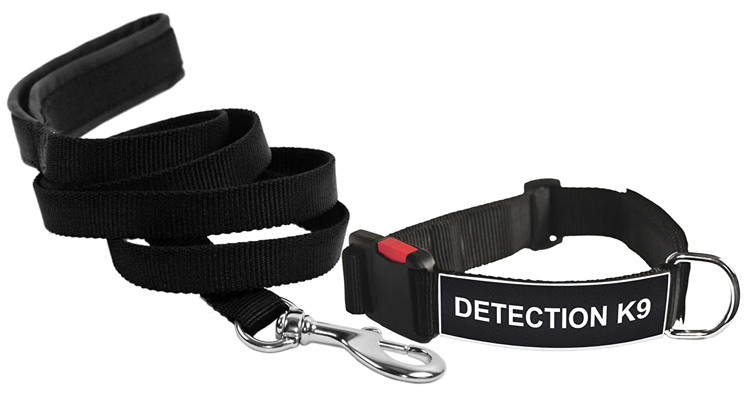 Dean & Tyler Detection K9 Small Patch Dog Collar with 6-Feet Padded Puppy Leash, Black