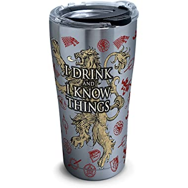 Tervis 1272323 Game of Thrones - House Lannister Stainless Steel Tumbler with Clear and Black Hammer Lid 20oz, Silver