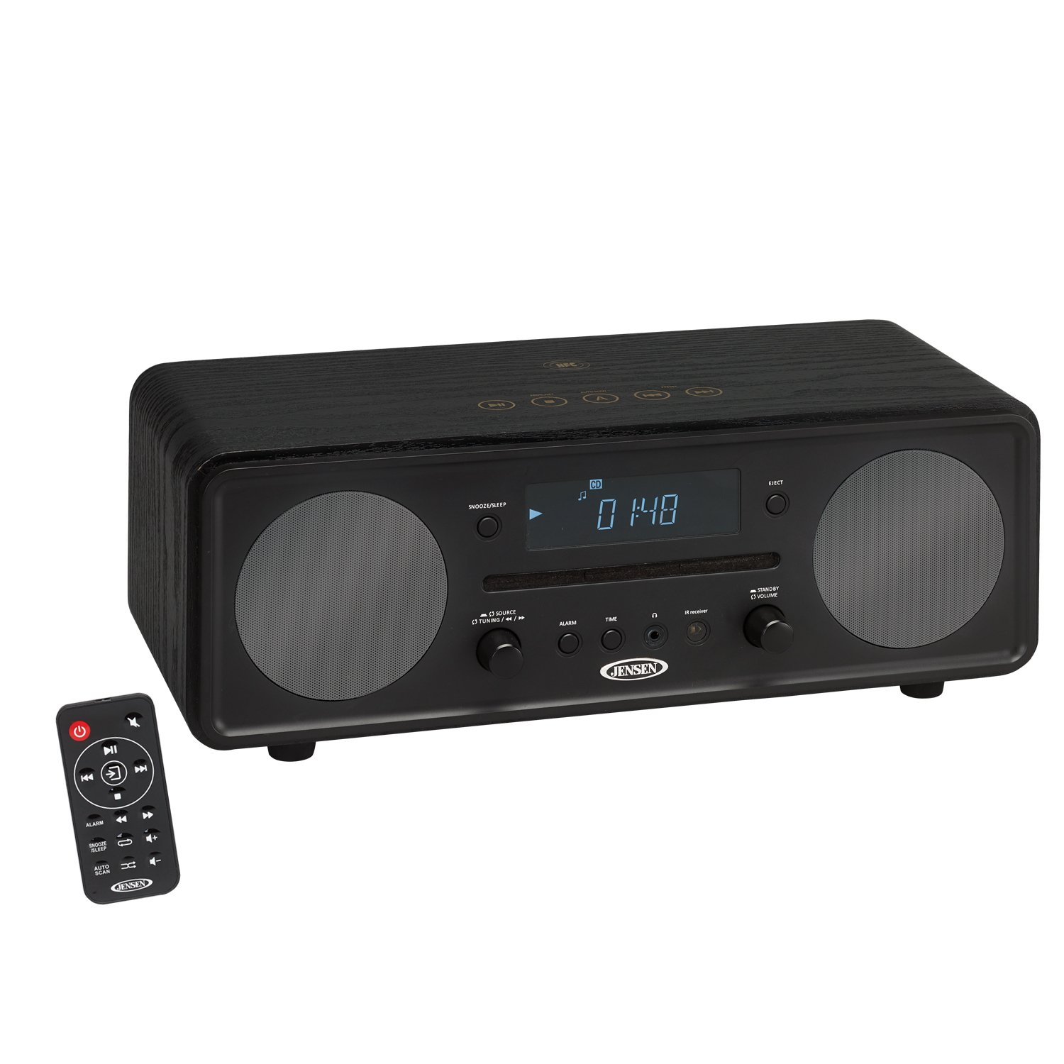 Jensen ALL- in 1 Modern Black Series Bluetooth Digital CD Music System, NFC, Digital AM/FM Stereo with Speakers, Aux-In, & Remote Control (Black Series Edition Model)
