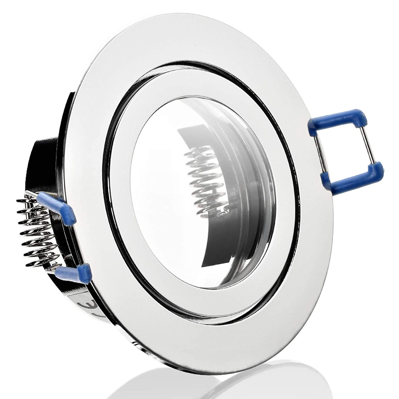 6 Stück IP44 Bad Einbauleuchte Aqua 230 Volt Rund Ohne Leuchtmittel Farbe  Chrom glänzend