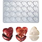 Martellato policarbonato molde de chocolate corazón gema diamante 33mm x 33mm x 15mm de alta, 24cavidades