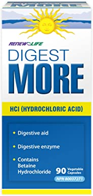Renew Life DigestMore with HCL, Digestive Enzyme, 90 Count