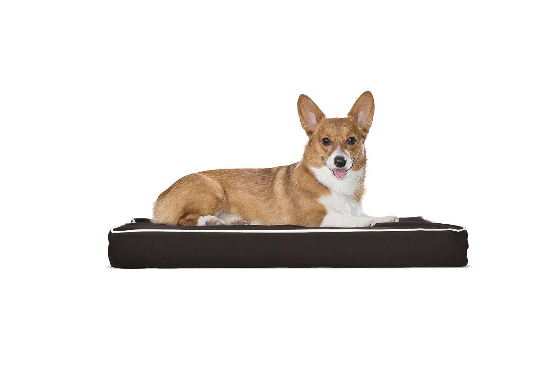 FurHaven Pet Dog Bed   Deluxe Orthopedic Polycanvas Indoor Outdoor Mattress Pet Bed for Dogs & Cats, Espresso w Cream Trim, Medium