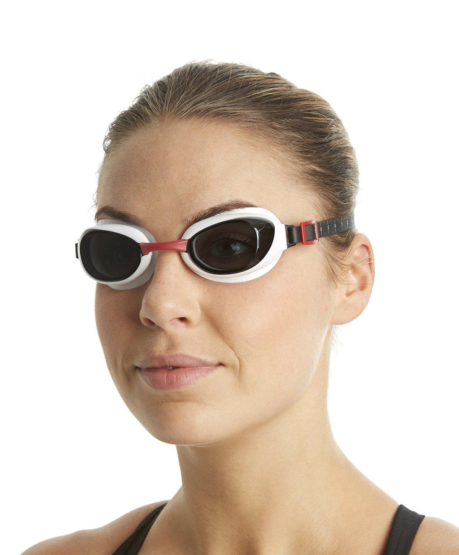 Speedo Aquapure Gafas de Natación, Unisex Adulto, Rojo USA/Humo, Talla Única