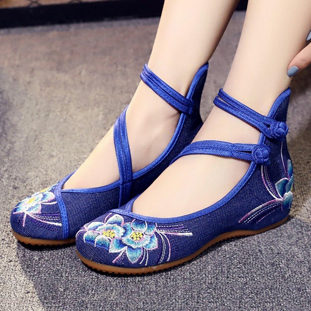 LJYBX Scarpe da donna folk-custom Old Beijing Scarpe ricamate in stoffa piatta Slope Scarpe antiscivolo in tela Scarpe da passeggio Aiuto basso Fondo morbido Scarpe singole scarpe da sposa -